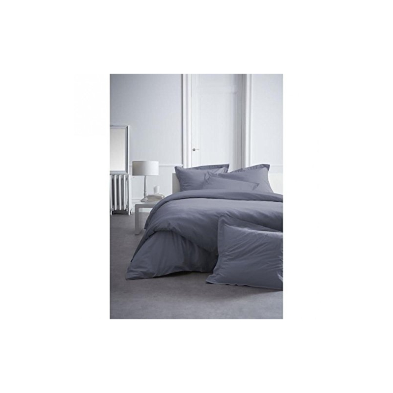 housse de couette 100 coton percale 240 x 260 cm gris anthracite easyd. Black Bedroom Furniture Sets. Home Design Ideas
