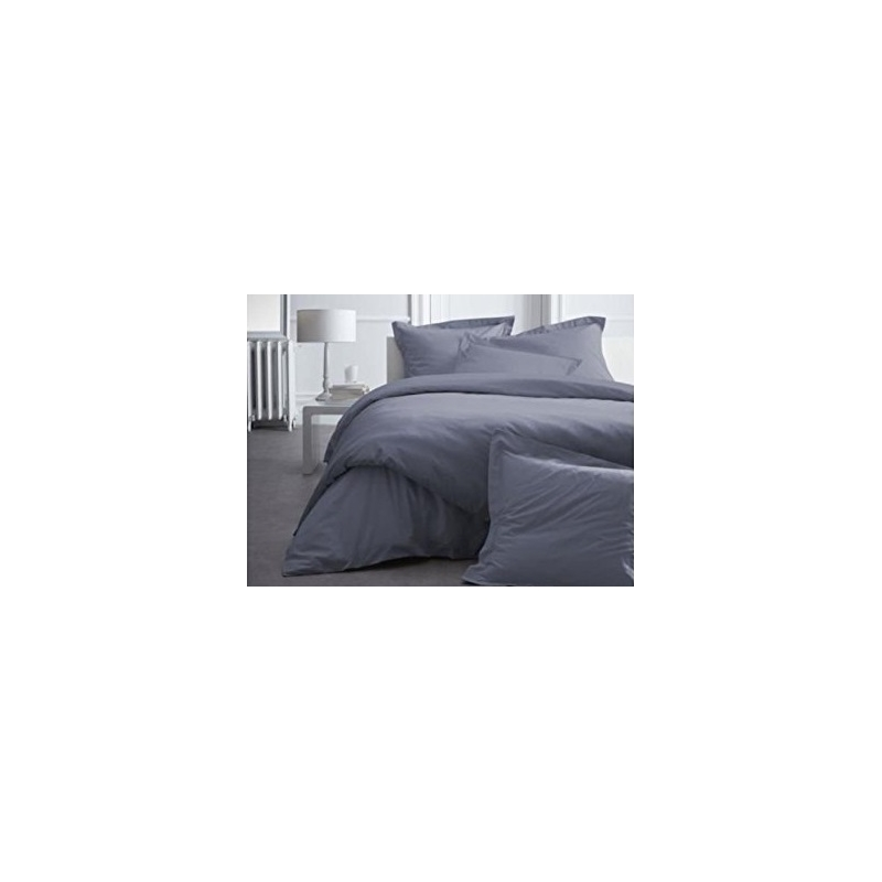 housse de couette 100 coton percale 240 x 260 cm gris. Black Bedroom Furniture Sets. Home Design Ideas