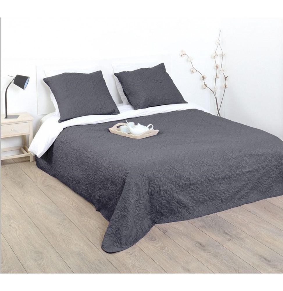 dessus de lit avec 2 taies arabes gris 240 x 260 cm. Black Bedroom Furniture Sets. Home Design Ideas