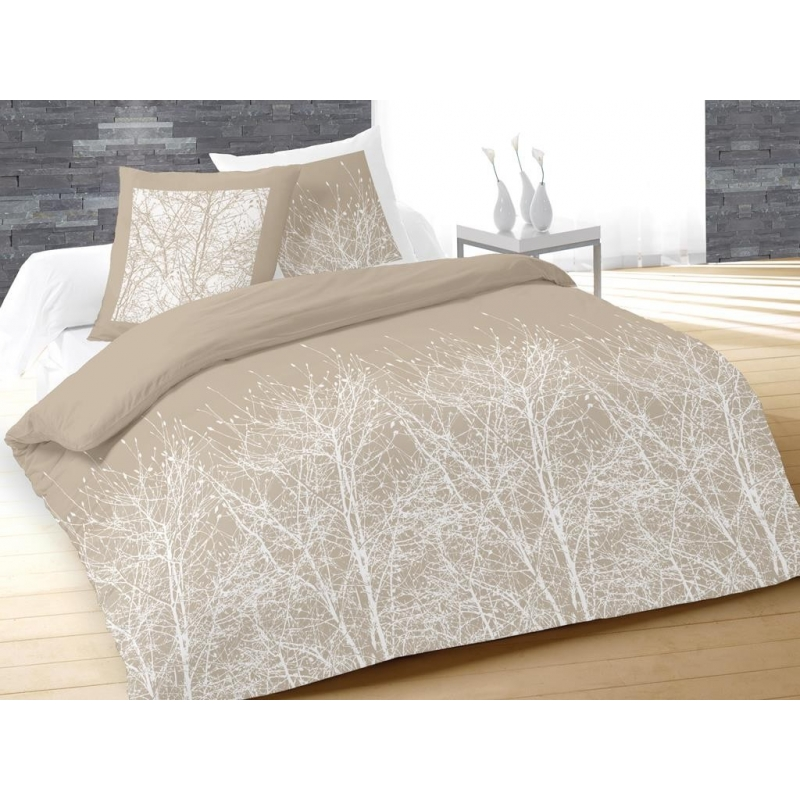 Parure de couette forest 220 x 240 cm taupe 100 coton easydistri - Parures de couettes 220 x 240 cm ...