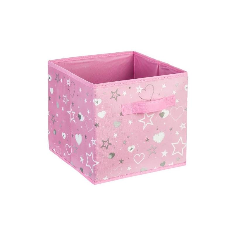 bac de rangement imprim 24 x 24 x 23 cm rose easydistri. Black Bedroom Furniture Sets. Home Design Ideas