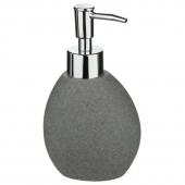 Distributeur savon stone - H 16 cm x D 8,5 cm - Céramique - Gris