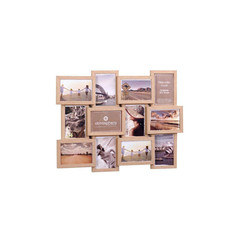 p le m le 12 photos nature couleur bois cadre multi photos easydistri. Black Bedroom Furniture Sets. Home Design Ideas